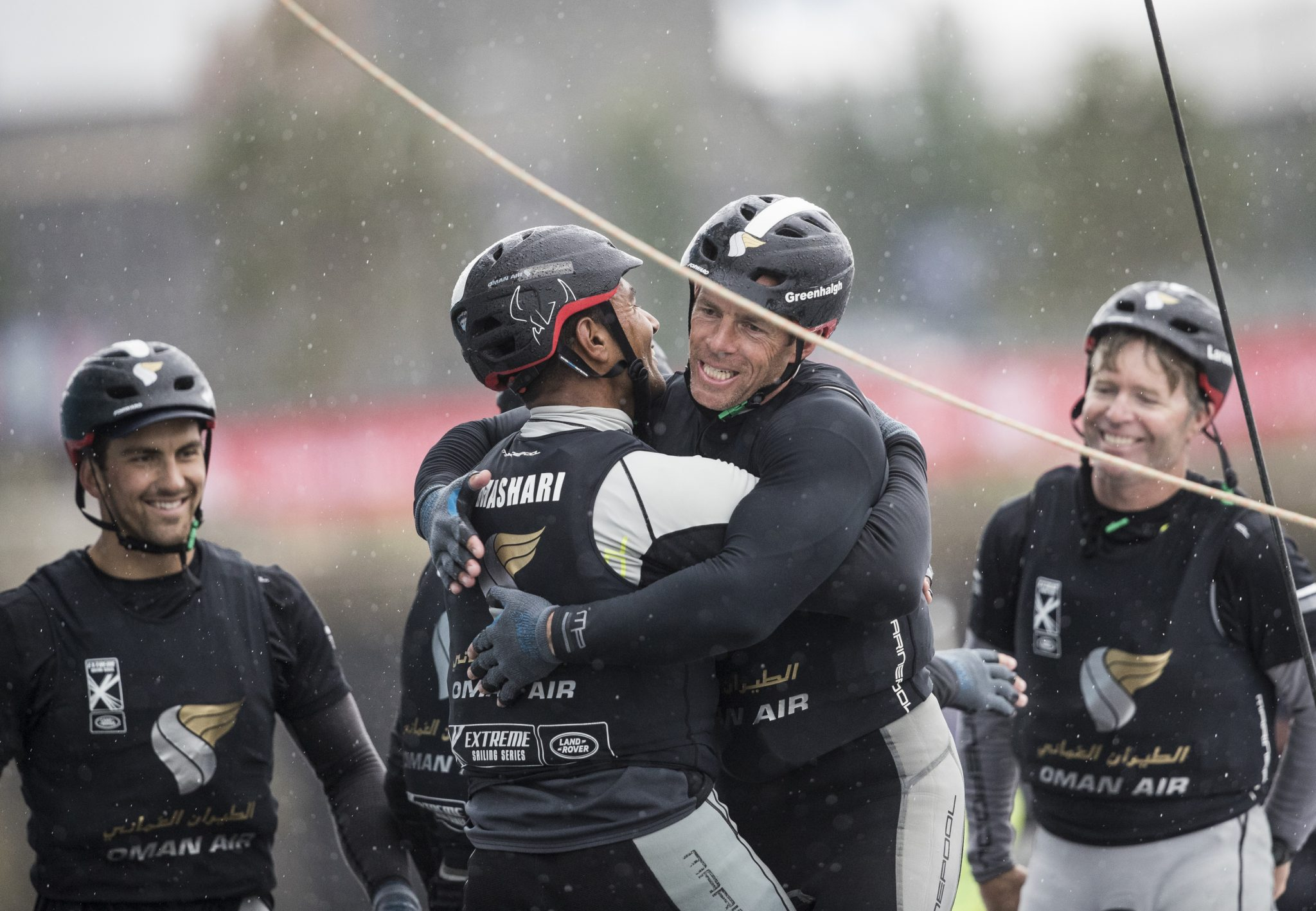 Cardiff. UK. 26th June 2016. The Extreme Sailing Series 2016. Act3. Cardiff Bay. Winners of the Cardiff event - Oman Air skippered by Morgan Larson (USA) with trimmer Pete Greenhalgh (GBR). Bowman James Wierzbowsk (AUS) Trimmer Ed Smyth (NZL) and Nasser Al Mashari (OMA) Credit : Lloyd Images