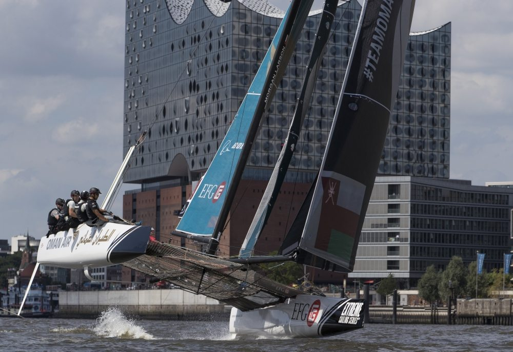 The Extreme Sailing Series 2016. Act 4. Hamburg. Germany. 28th July 2016. (Photo by Lloyd Images)