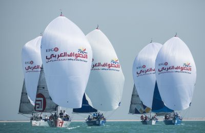 EFG Sailing Arabia - The Tour 2016. Doha. Qatar. Pictures of the Doha In-Port racing close to the city and Pearl Marina Image licensed to Lloyd Images