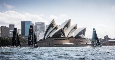 The Extreme Sailing Series 2016. Oman Air : Morgan Larson (USA) - helmsman/skipper, Pete Greenhalgh (GBR) ñ mainsail trimmer, Nasser Al Mashari (OMA) ñ bowman, Ed Smyth (NZL/AUS) - trimmer, James Wierzbowski (AUS) ñ bowman. Act 8.Sydney,Australia. 8th-11th December 2016. Credit - Jesus Renedo/Lloyd Images