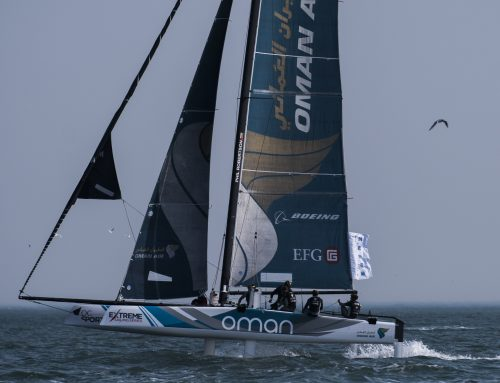 Team Oman Air score big breeze win to set up final day thriller at Extreme Sailing Series in Qingdao