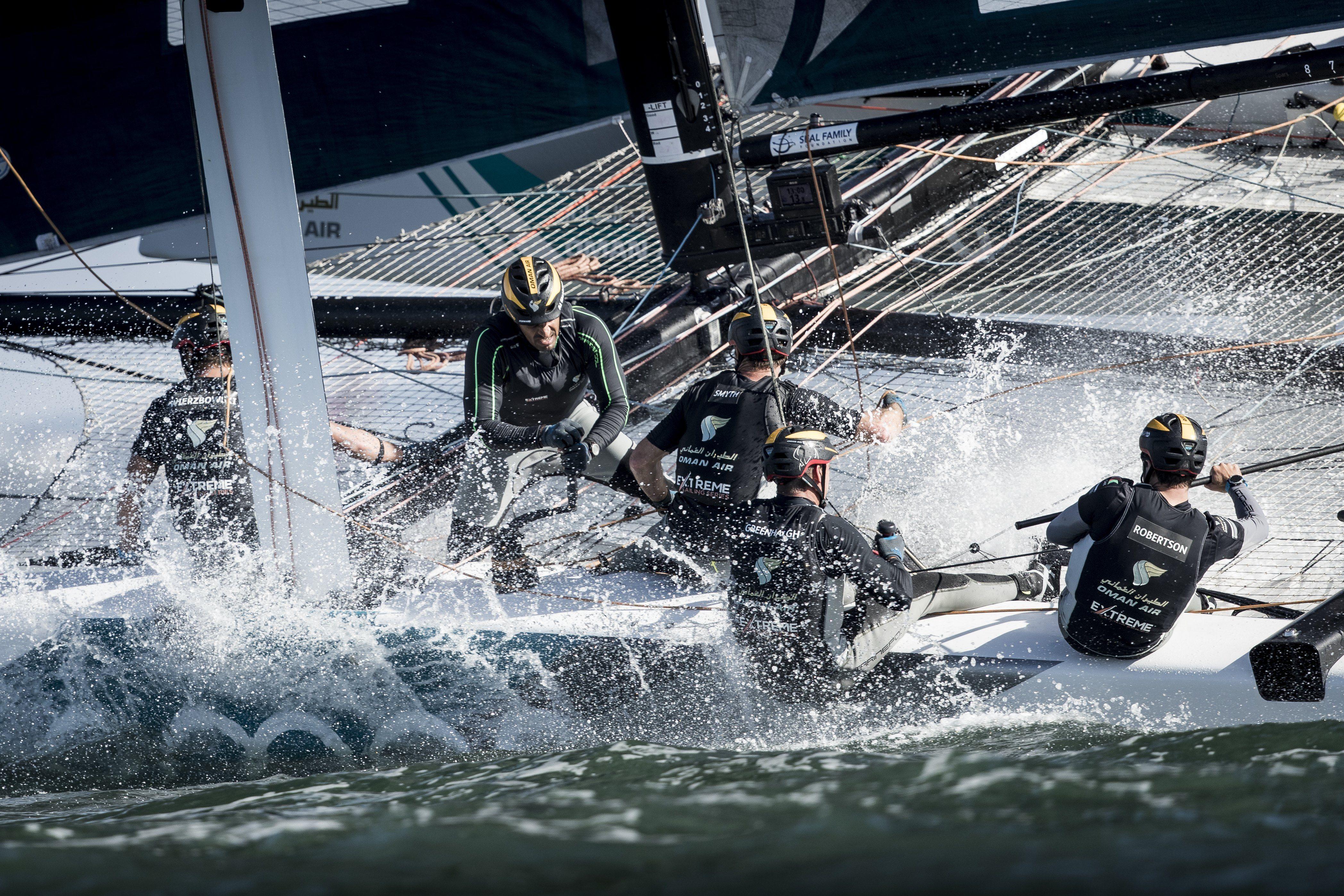 Oman Air's Extreme Sailing Series team keep their grip on a podium place in San Diego