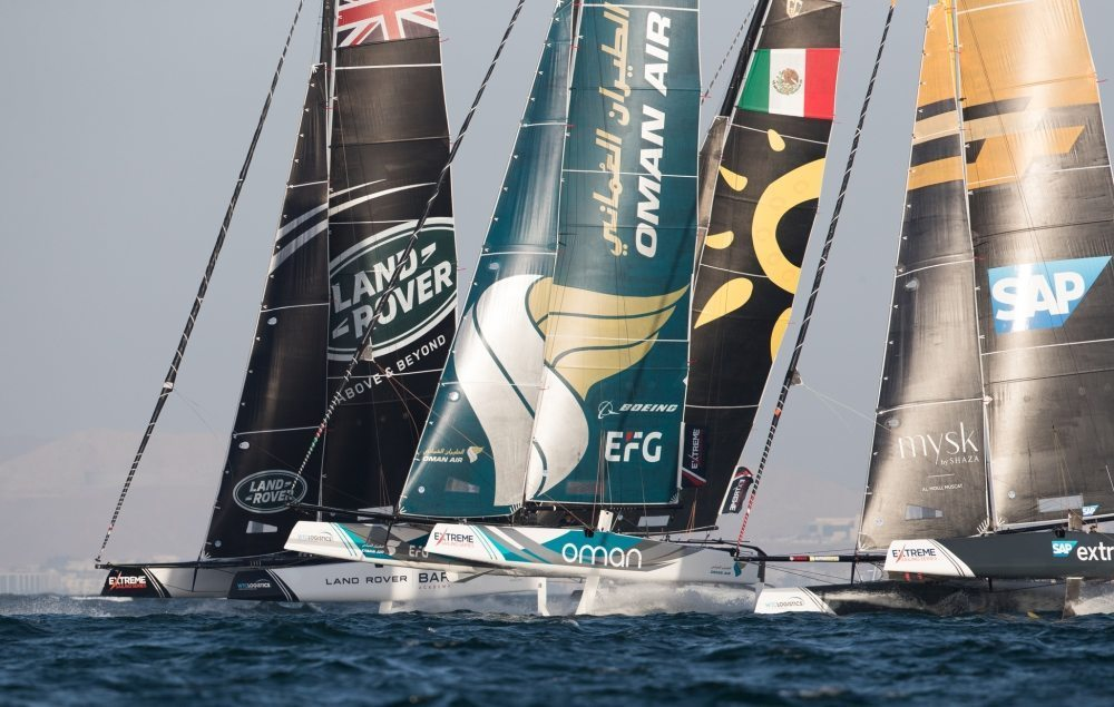 Team Oman Air on the Muscat podium going into final day of Extreme Sailing Series