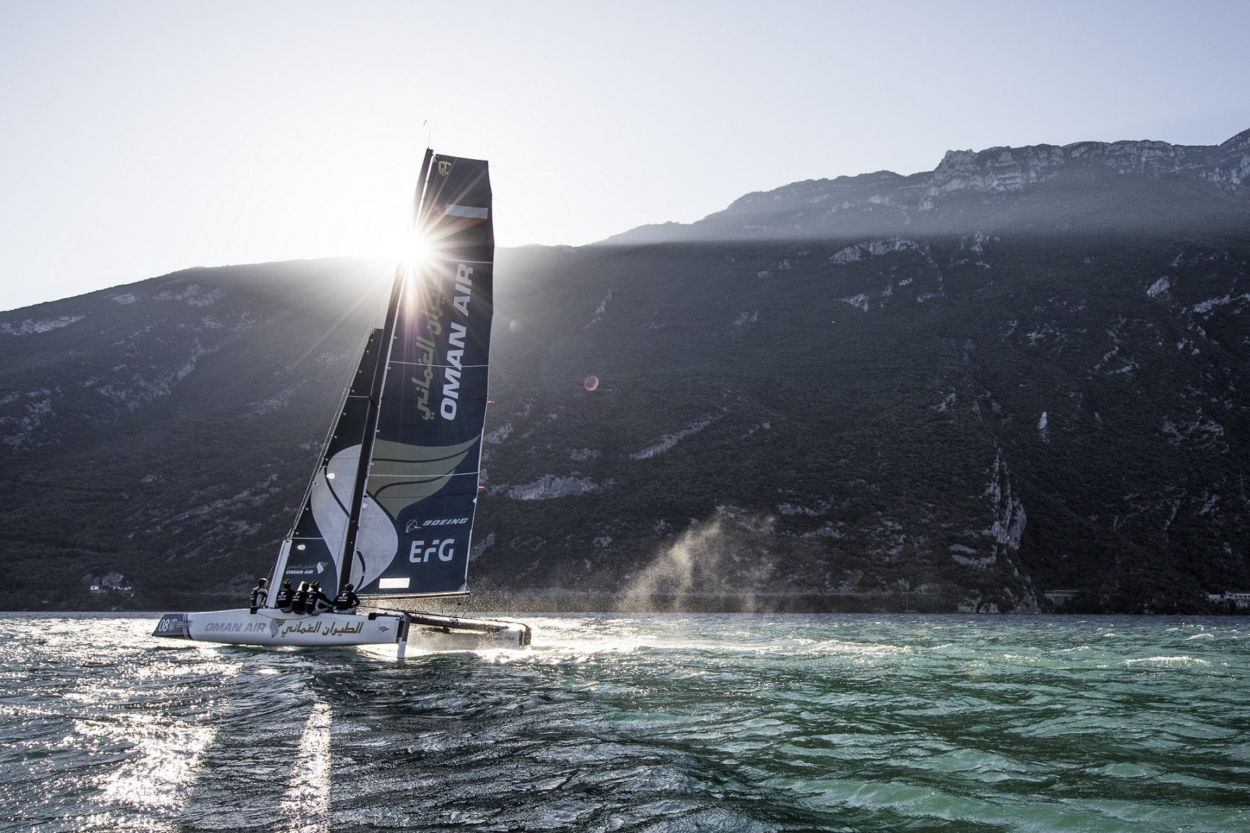 Team Oman Air puts in a world class performance on Lake Garda to boost their Extreme Sailing Series season