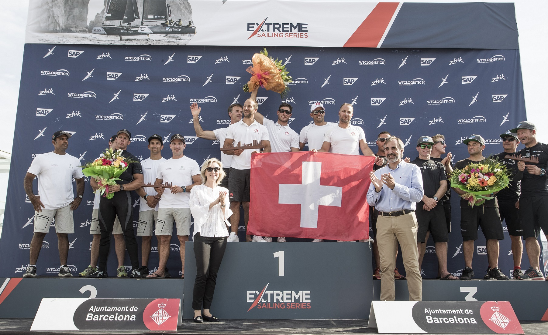 Team Oman Air shows true teamwork to take second place at Extreme Sailing Series event in Barcelona