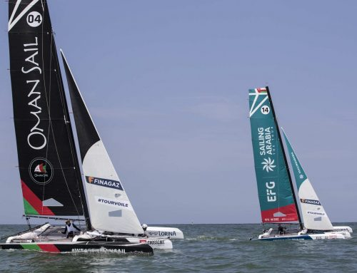 Oman Sail's Diam 24 team #SailingArabia is in a podium position after early Tour Voile encounters